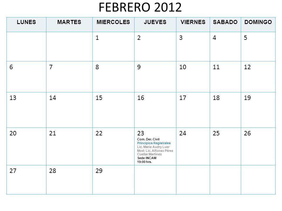 MARZO 2012 LUNESMARTESMIERCOLESJUEVESVIERNESSABADODOMINGO 1234 567891011 12131415161718 19202122 Com.