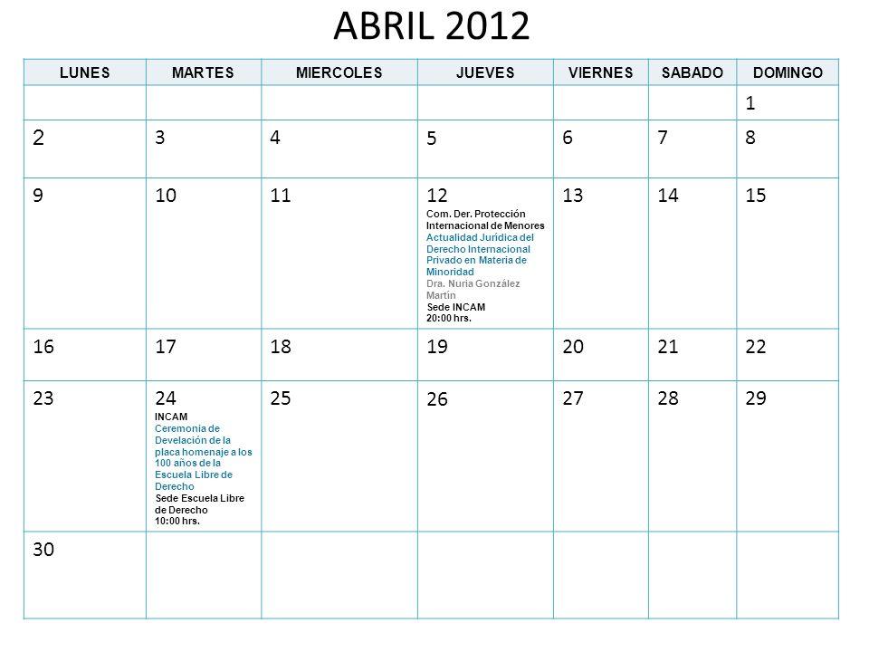 ABRIL 2012 LUNESMARTESMIERCOLESJUEVESVIERNESSABADODOMINGO 1 2 345678 9101112 Com. Der. Protección Internacional de Menores Actualidad Jurídica del Der