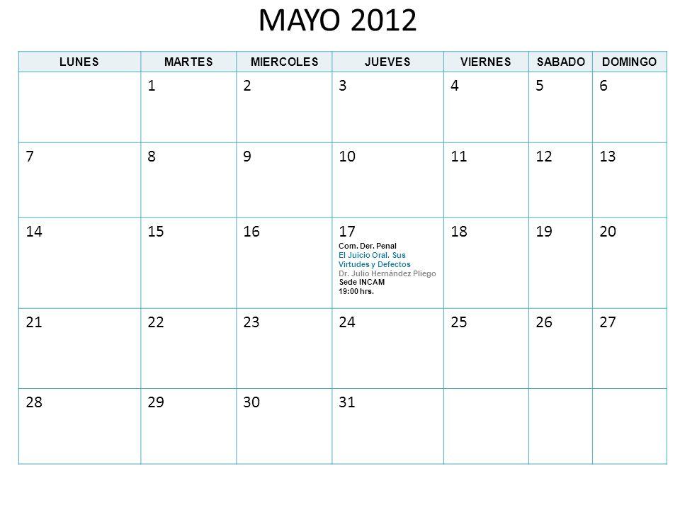 JUNIO 2012 LUNESMARTESMIERCOLESJUEVESVIERNESSABADODOMINGO 123 45678910 11121314 Com.