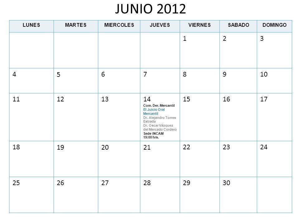JUNIO 2012 LUNESMARTESMIERCOLESJUEVESVIERNESSABADODOMINGO 123 45678910 11121314 Com. Der. Mercantil El Juicio Oral Mercantil Dr. Alejandro Torres Estr