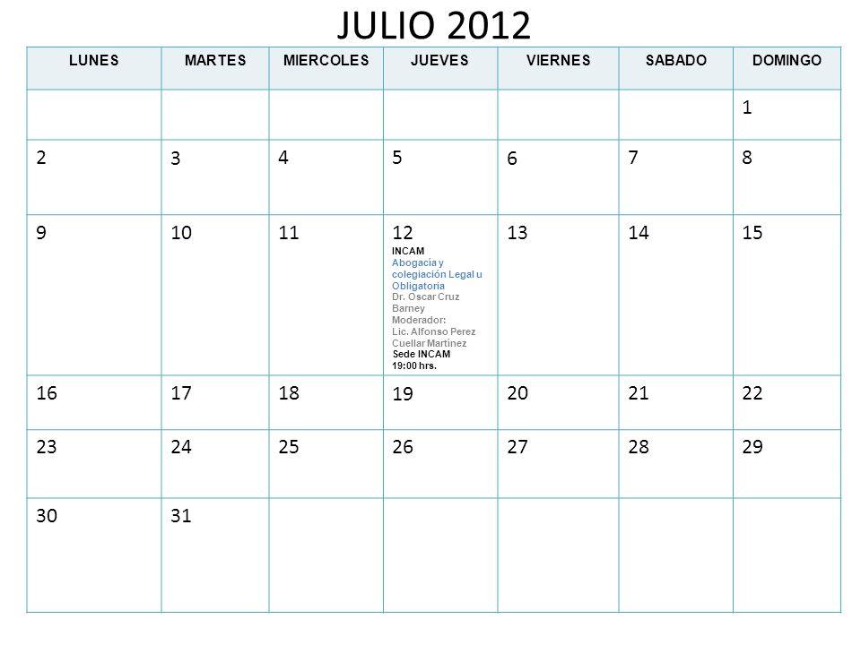JULIO 2012 LUNESMARTESMIERCOLESJUEVESVIERNESSABADODOMINGO 1 2345678 9101112 INCAM Abogacía y colegiación Legal u Obligatoria Dr. Oscar Cruz Barney Mod