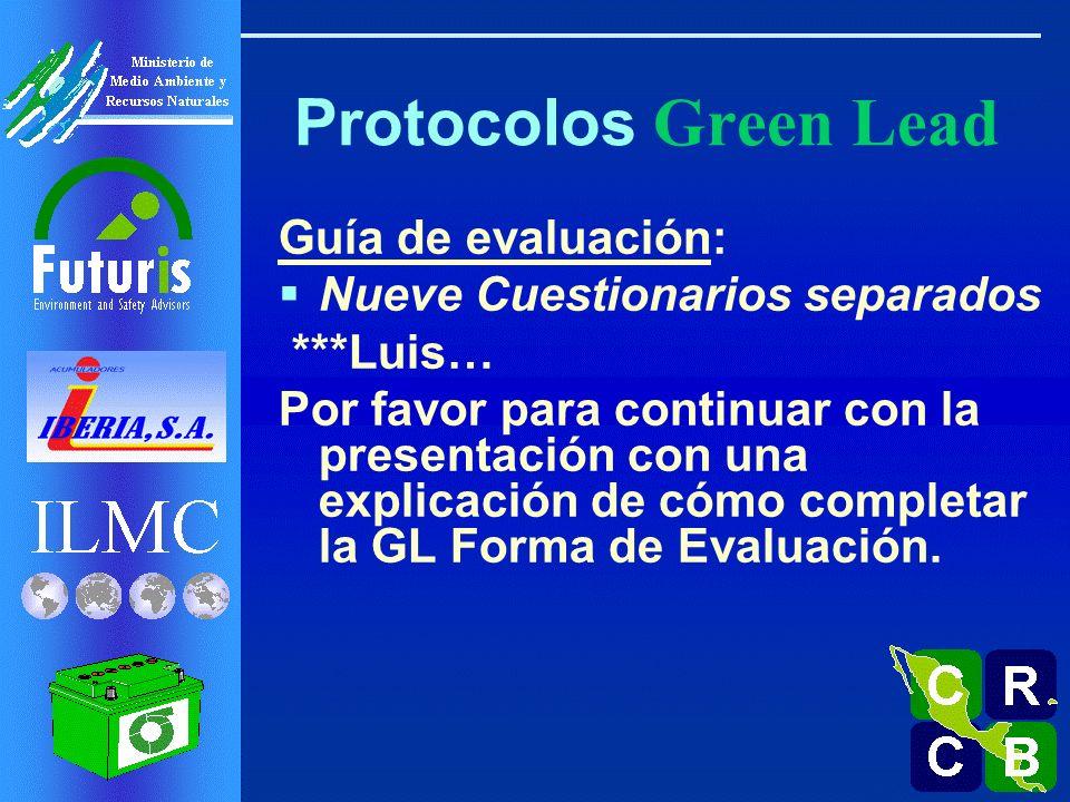 Protocolos Green Lead Guía de evaluación: Nueve Cuestionarios separados ***Luis… Por favor para continuar con la presentación con una explicación de cómo completar la GL Forma de Evaluación.