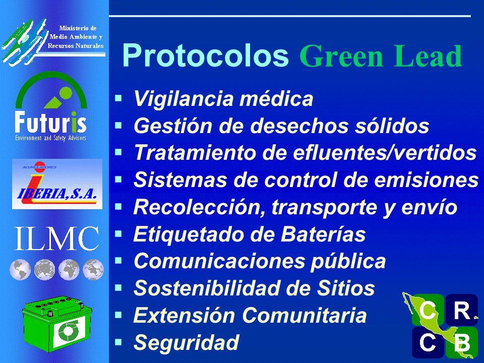 Vigilancia médica Gestión de desechos sólidos Tratamiento de efluentes/vertidos Sistemas de control de emisiones Recolección, transporte y envío Etiquetado de Baterías Comunicaciones pública Sostenibilidad de Sitios Extensión Comunitaria Seguridad Protocolos Green Lead