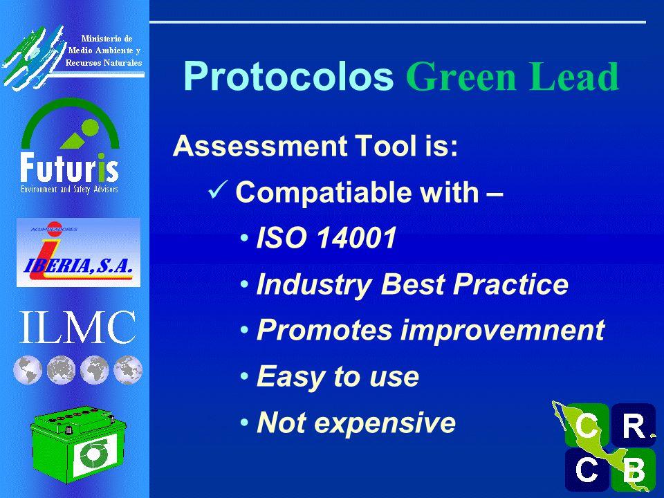 Protocolos Green Lead Aplicable a cualquier fase del CV: Minería Fundición Refinado Fabricación de Baterías Ventas Recolección de BAPU Reciclaje