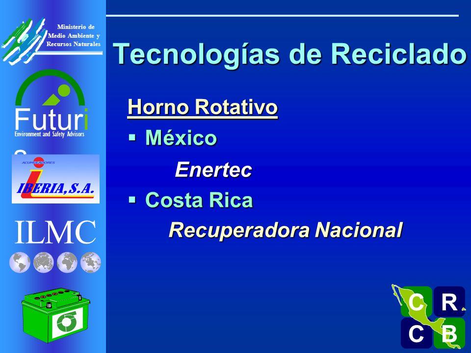 ILMC Environment and Safety Advisors Futuri s R C C B B C Ministerio de Medio Ambiente y Recursos Naturales Tecnologías de Reciclado Horno Rotativo México MéxicoEnertec Costa Rica Costa Rica Recuperadora Nacional Recuperadora Nacional Guatemala Guatemala Acumuladores Iberia