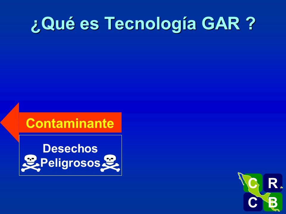 Desechos Peligrosos Contaminante Escoria Inerte ¿Qué es Tecnología GAR ? R C C B B C