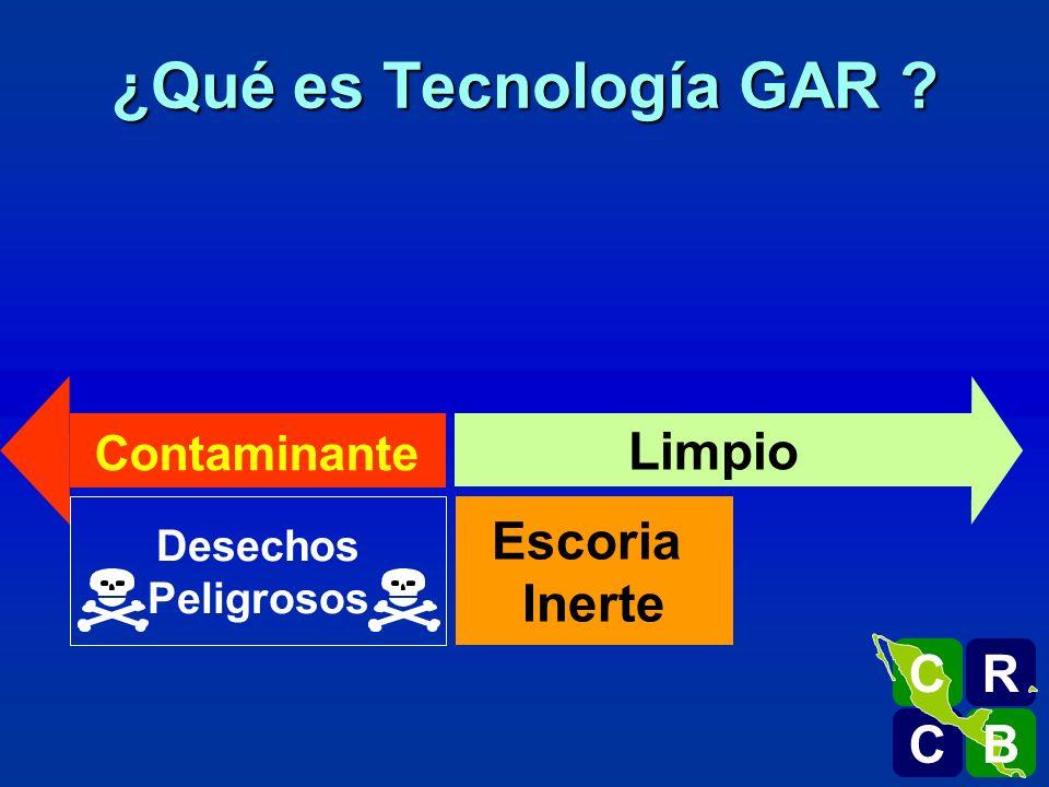 Desechos Peligrosos Contaminante Escoria Inerte Limpio ¿Qué es Tecnología GAR ? R C C B B C