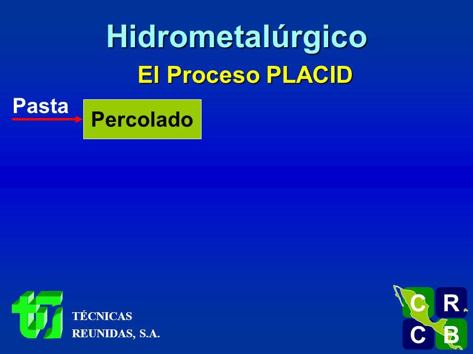 El Proceso PLACID Pasta Percolado R C C B B C Hidrometalúrgico TÉCNICAS REUNIDAS, S.A.