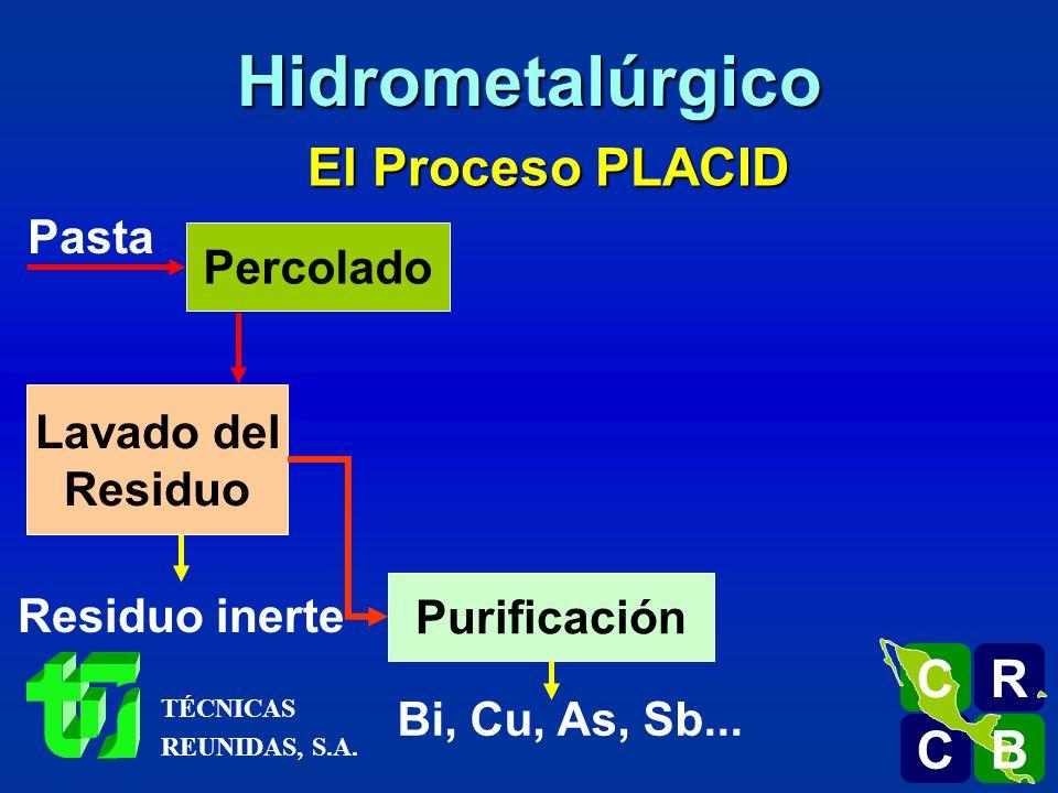 El Proceso PLACID Pasta Percolado Lavado del Residuo Residuo inerte Purificación Bi, Cu, As, Sb... R C C B B C Hidrometalúrgico TÉCNICAS REUNIDAS, S.A