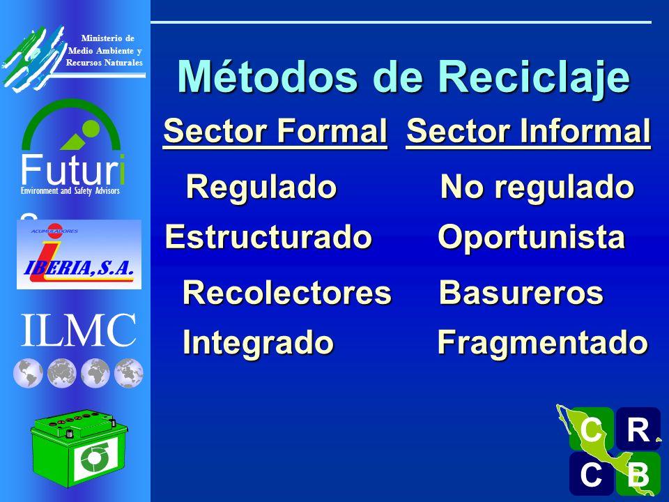 ILMC Environment and Safety Advisors Futuri s R C C B B C Ministerio de Medio Ambiente y Recursos Naturales Métodos de Reciclaje Regulado No regulado