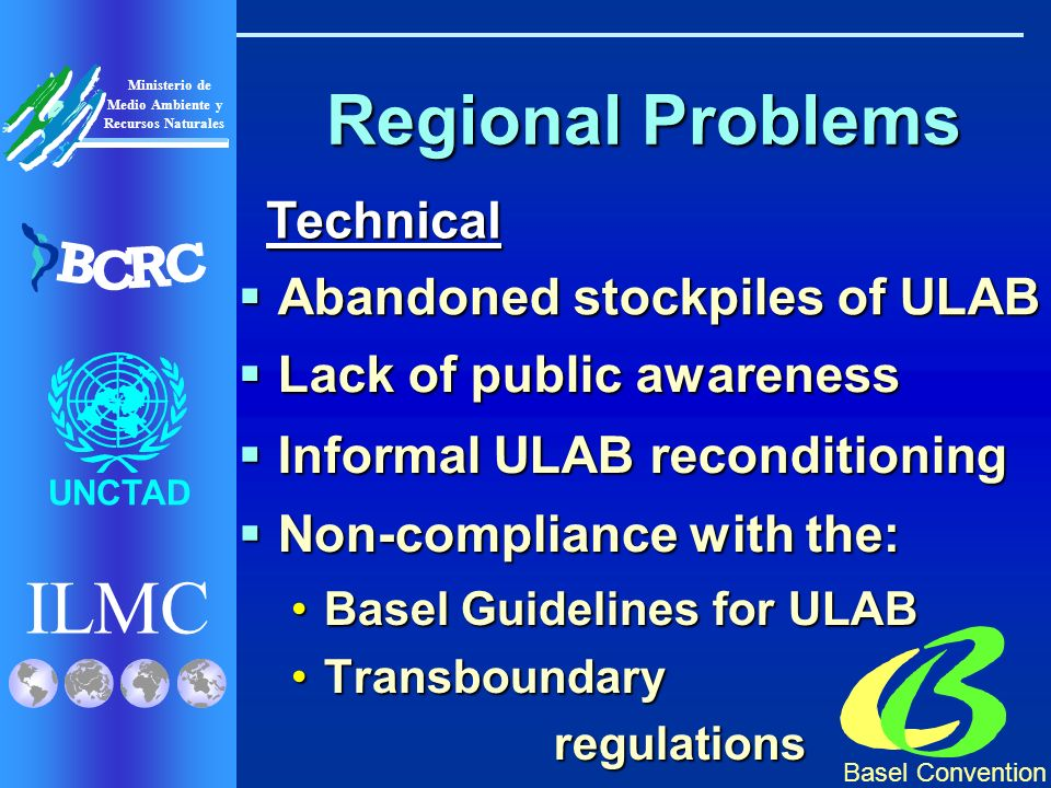 Basel Convention ILMC UNCTAD Ministerio de Medio Ambiente y Recursos Naturales B C R C Regional Problems Non-compliance with the: Non-compliance with the: Basel Guidelines for ULABBasel Guidelines for ULAB TransboundaryTransboundaryregulations Technical Technical Abandoned stockpiles of ULAB Abandoned stockpiles of ULAB Lack of public awareness Lack of public awareness Informal ULAB reconditioning Informal ULAB reconditioning