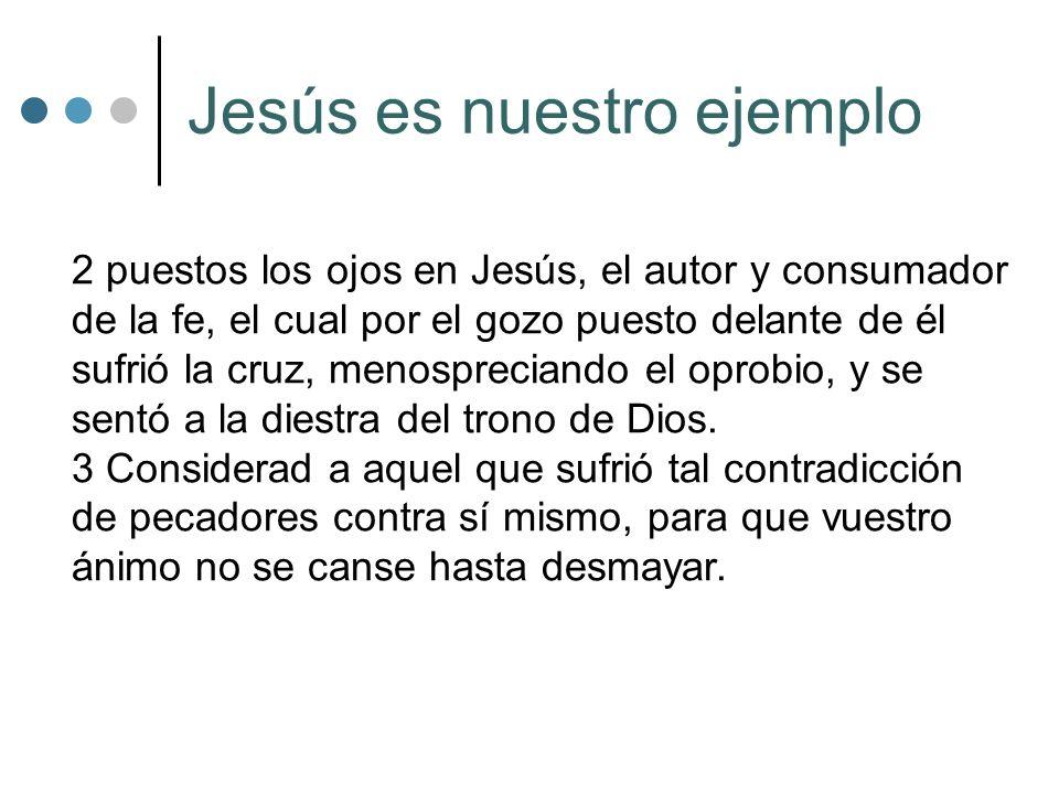 Jesús es nuestro ejemplo 2 puestos los ojos en Jesús, el autor y consumador de la fe, el cual por el gozo puesto delante de él sufrió la cruz, menospr