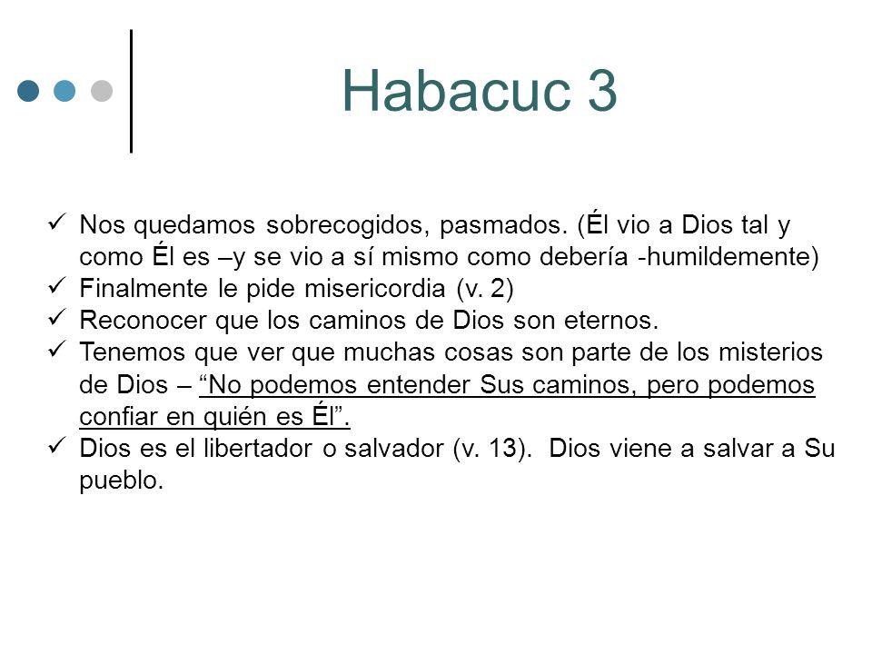 Habacuc 3 Nos quedamos sobrecogidos, pasmados. (Él vio a Dios tal y como Él es –y se vio a sí mismo como debería -humildemente) Finalmente le pide mis
