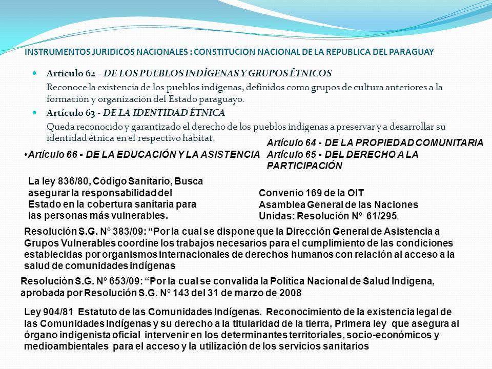 INSTRUMENTOS JURIDICOS NACIONALES : CONSTITUCION NACIONAL DE LA REPUBLICA DEL PARAGUAY Artículo 62 - DE LOS PUEBLOS INDÍGENAS Y GRUPOS ÉTNICOS Reconoc