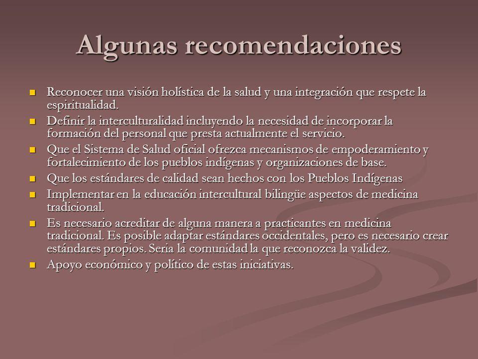 Algunas recomendaciones Reconocer una visión holística de la salud y una integración que respete la espiritualidad. Reconocer una visión holística de