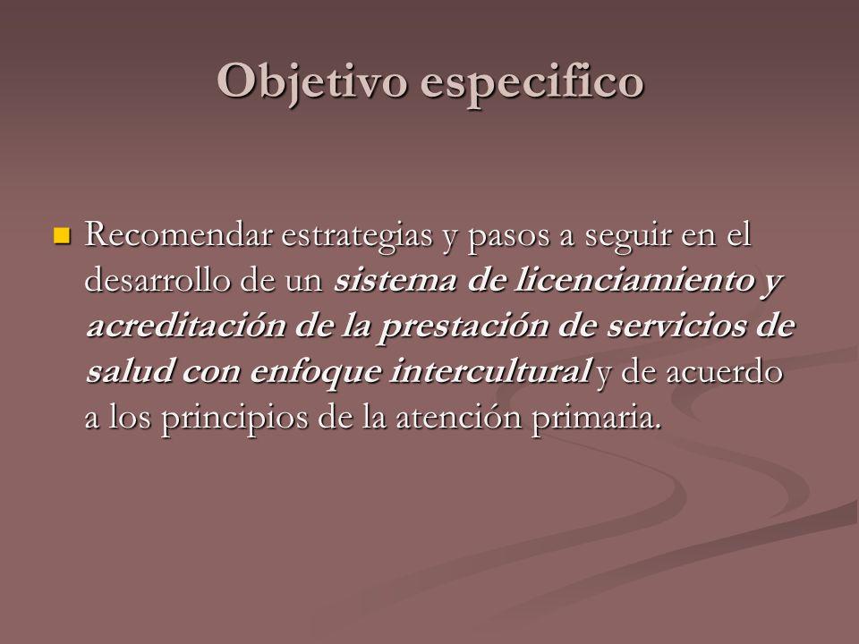 Objetivo especifico Recomendar estrategias y pasos a seguir en el desarrollo de un sistema de licenciamiento y acreditación de la prestación de servic