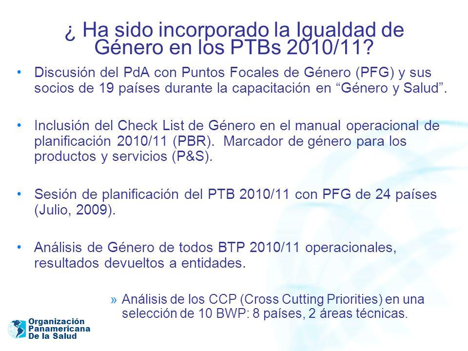 Organización Panamericana De la Salud ¿ Ha sido incorporado la Igualdad de Género en los PTBs 2010/11? Discusión del PdA con Puntos Focales de Género