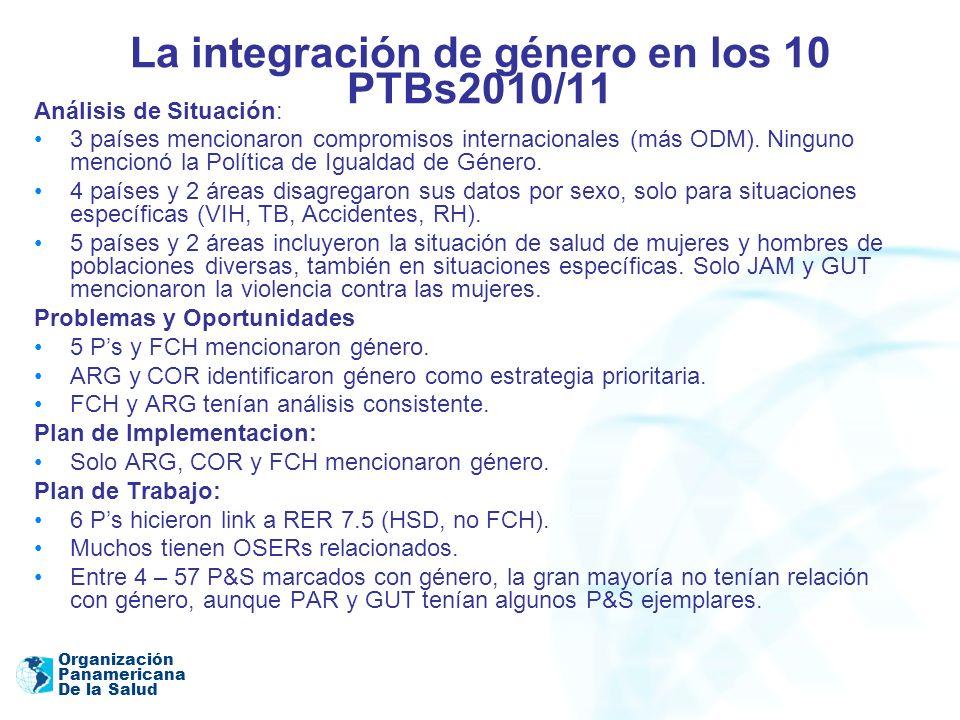 Organización Panamericana De la Salud La integración de género en los 10 PTBs2010/11 Análisis de Situación: 3 países mencionaron compromisos internaci