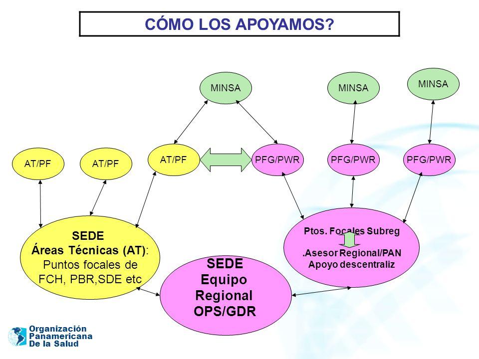 Organización Panamericana De la Salud SEDE Equipo Regional OPS/GDR Ptos. Focales Subreg.Asesor Regional/PAN Apoyo descentraliz PFG/PWR AT/PF MINSA AT/