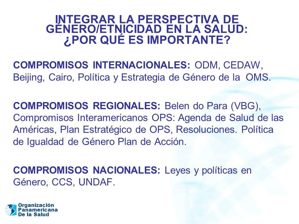 Organización Panamericana De la Salud INTEGRAR LA PERSPECTIVA DE GÉNERO/ETNICIDAD EN LA SALUD: ¿ POR QUÉ ES IMPORTANTE? COMPROMISOS INTERNACIONALES: O