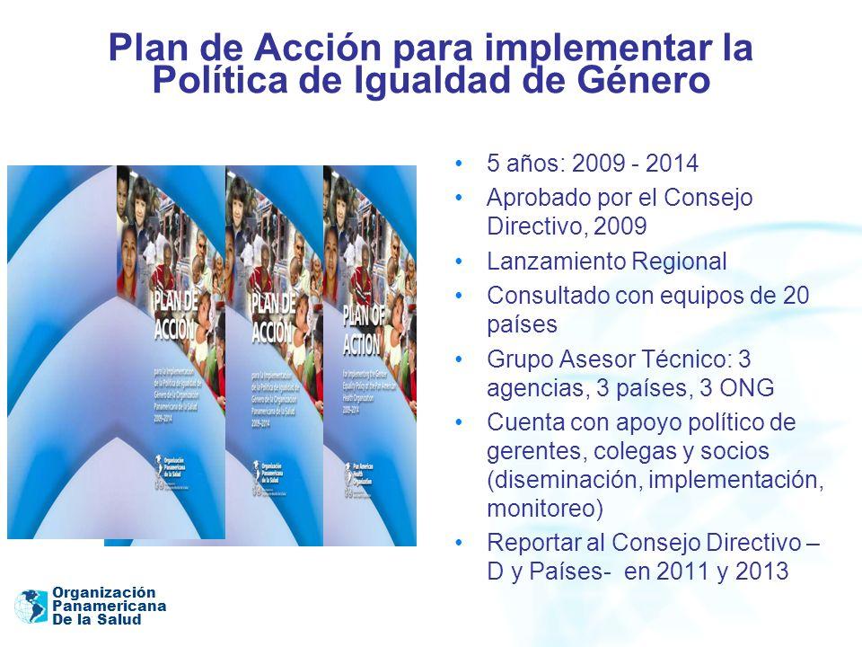 Organización Panamericana De la Salud Plan de Acción: INDICADORES DE RESPONSABILIDAD Estrategias de cooperación en los países En el 2010 todas las nuevas estrategias de cooperación en los países incluyen el análisis basado en datos desglosados por sexo y edad, y estrategias para abordar las diferencias