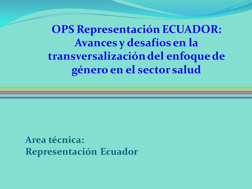 OPS Representación ECUADOR: Avances y desafíos en la transversalización del enfoque de género en el sector salud Area técnica: Representación Ecuador