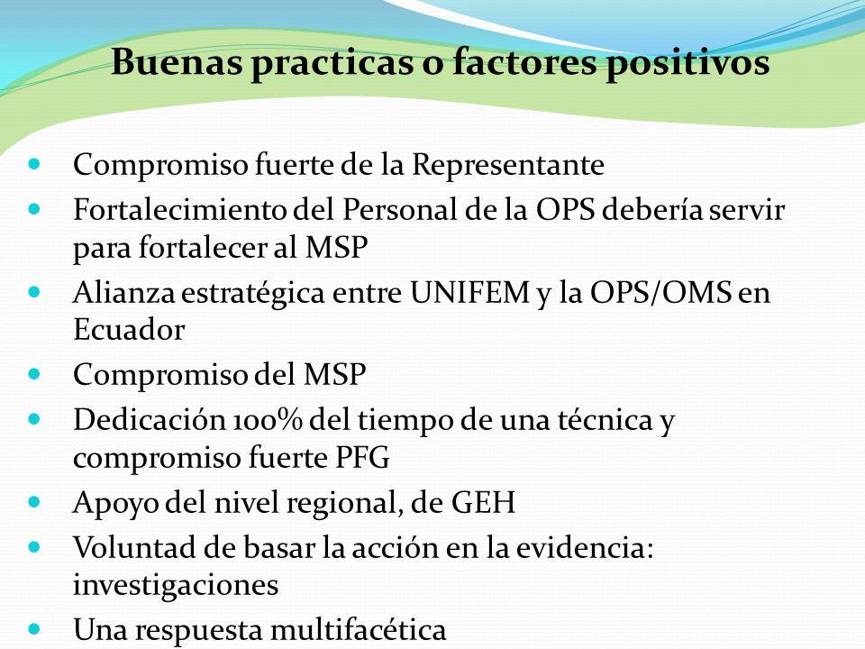 Compromiso fuerte de la Representante Fortalecimiento del Personal de la OPS debería servir para fortalecer al MSP Alianza estratégica entre UNIFEM y