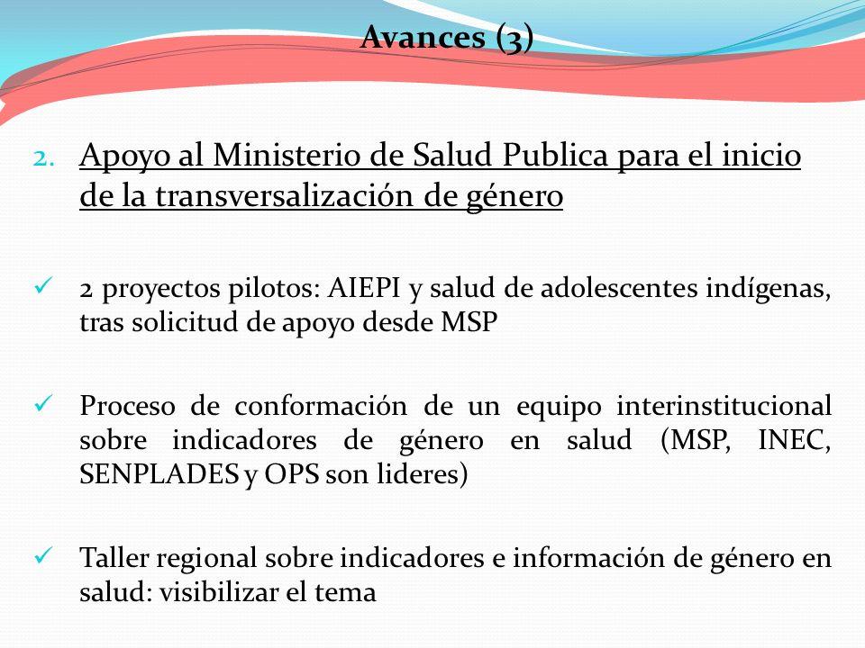 Avances (3) 2. Apoyo al Ministerio de Salud Publica para el inicio de la transversalización de género 2 proyectos pilotos: AIEPI y salud de adolescent