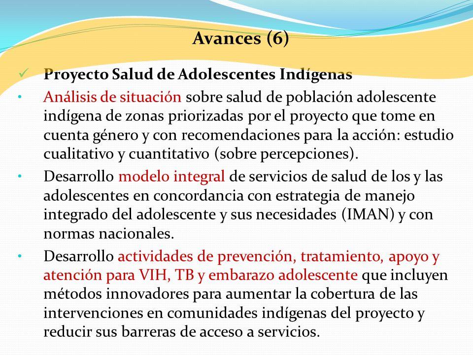 Proyecto Salud de Adolescentes Indígenas Análisis de situación sobre salud de población adolescente indígena de zonas priorizadas por el proyecto que