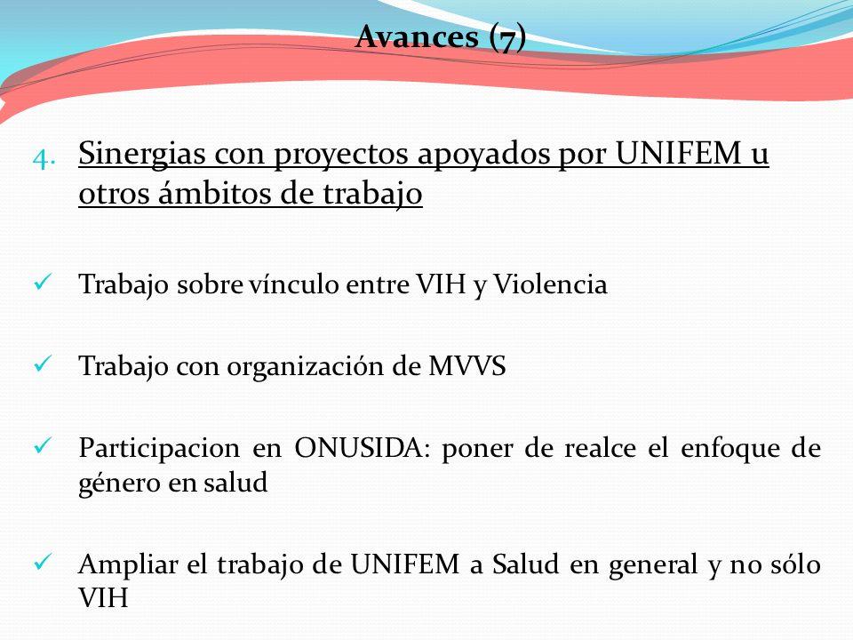 Avances (7) 4. Sinergias con proyectos apoyados por UNIFEM u otros ámbitos de trabajo Trabajo sobre vínculo entre VIH y Violencia Trabajo con organiza