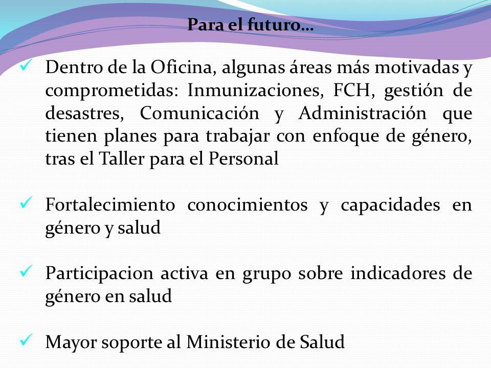 Para el futuro… Dentro de la Oficina, algunas áreas más motivadas y comprometidas: Inmunizaciones, FCH, gestión de desastres, Comunicación y Administr