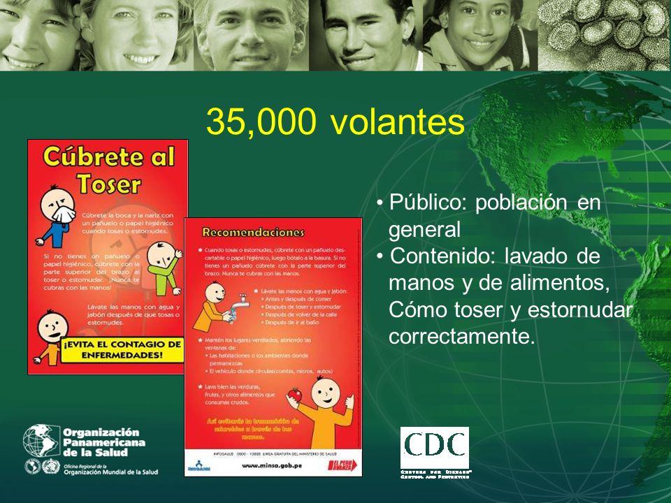 35,000 volantes Público: población en general Contenido: lavado de manos y de alimentos, Cómo toser y estornudar correctamente.