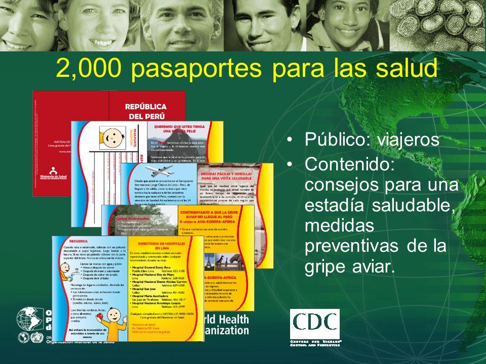 2,000 pasaportes para las salud Público: viajeros Contenido: consejos para una estadía saludable, medidas preventivas de la gripe aviar.