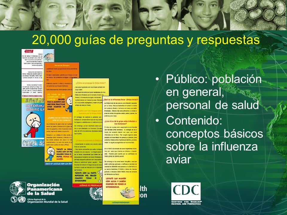 20,000 guías de preguntas y respuestas Público: población en general, personal de salud Contenido: conceptos básicos sobre la influenza aviar