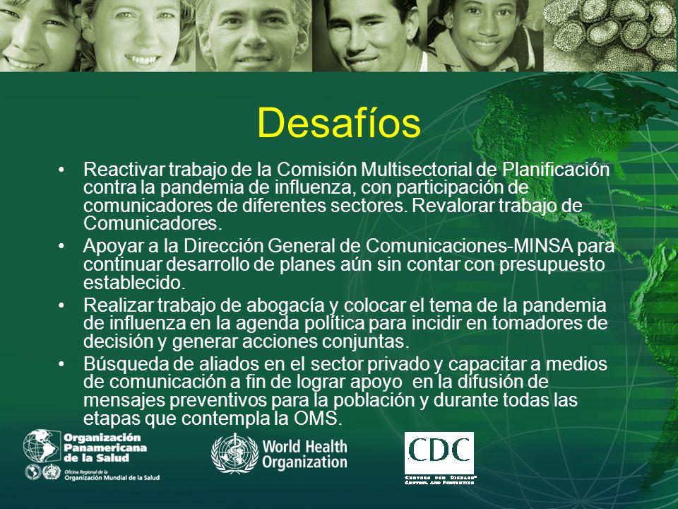 Desafíos Reactivar trabajo de la Comisión Multisectorial de Planificación contra la pandemia de influenza, con participación de comunicadores de diferentes sectores.