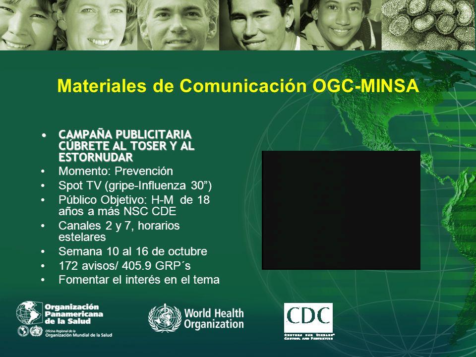 Materiales de Comunicación OGC-MINSA CAMPAÑA PUBLICITARIA CÚBRETE AL TOSER Y AL ESTORNUDARCAMPAÑA PUBLICITARIA CÚBRETE AL TOSER Y AL ESTORNUDAR Momento: Prevención Spot TV (gripe-Influenza 30) Público Objetivo: H-M de 18 años a más NSC CDE Canales 2 y 7, horarios estelares Semana 10 al 16 de octubre 172 avisos/ 405.9 GRP´s Fomentar el interés en el tema