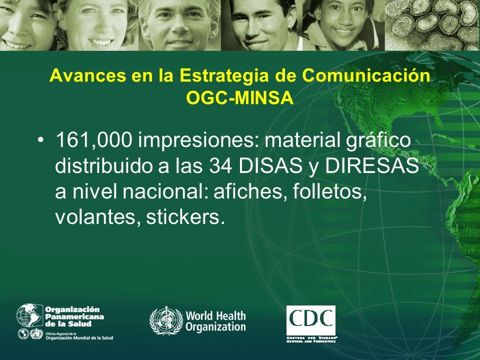Avances en la Estrategia de Comunicación OGC-MINSA 161,000 impresiones: material gráfico distribuido a las 34 DISAS y DIRESAS a nivel nacional: afiches, folletos, volantes, stickers.
