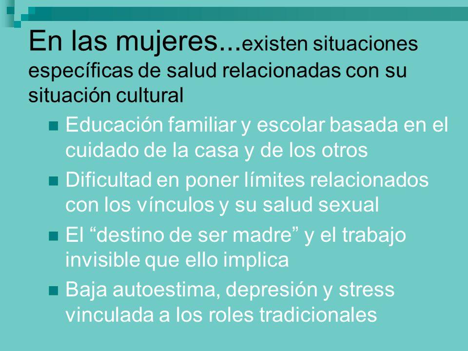En las mujeres... existen situaciones específicas de salud relacionadas con su situación cultural Educación familiar y escolar basada en el cuidado de