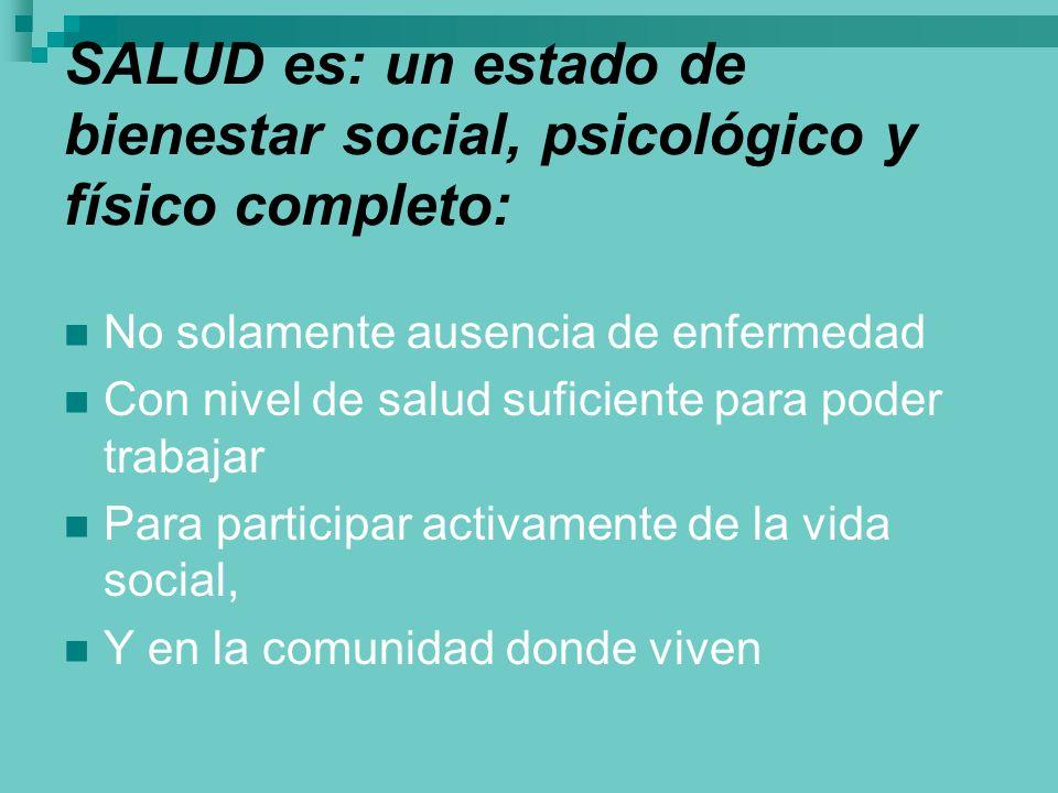 SALUD es: un estado de bienestar social, psicológico y físico completo: No solamente ausencia de enfermedad Con nivel de salud suficiente para poder t