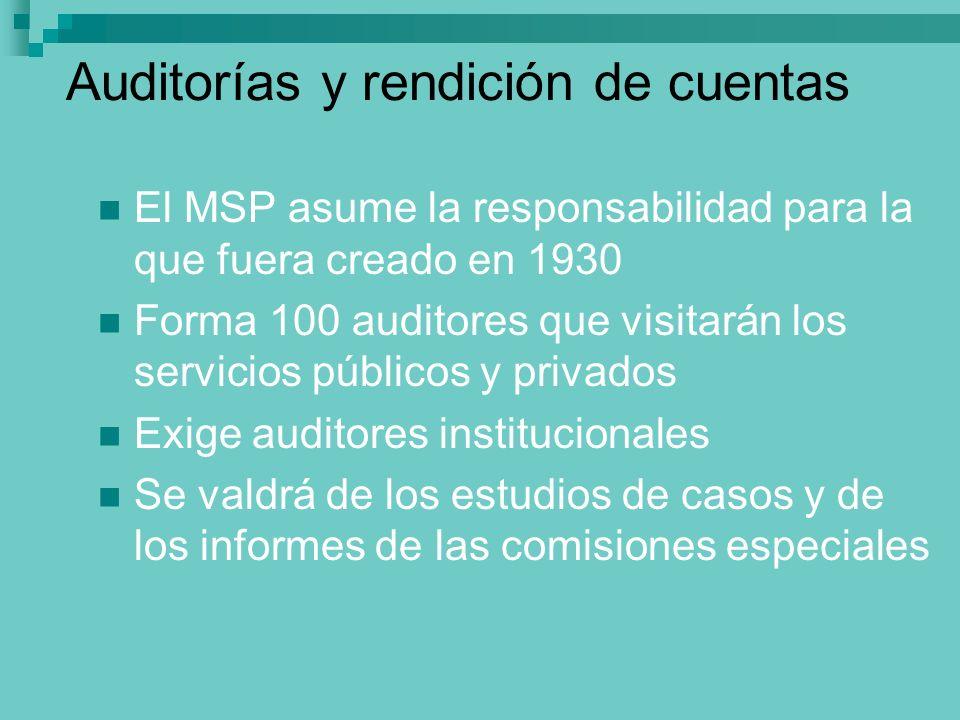 Auditorías y rendición de cuentas El MSP asume la responsabilidad para la que fuera creado en 1930 Forma 100 auditores que visitarán los servicios púb