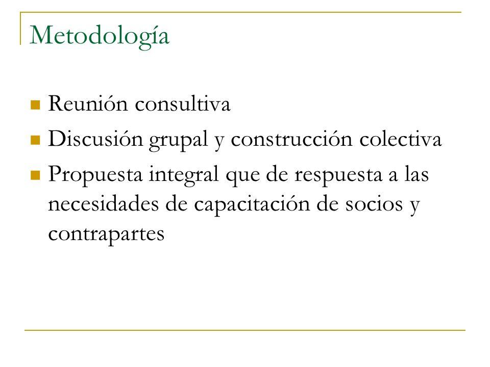 Metodología Reunión consultiva Discusión grupal y construcción colectiva Propuesta integral que de respuesta a las necesidades de capacitación de socios y contrapartes