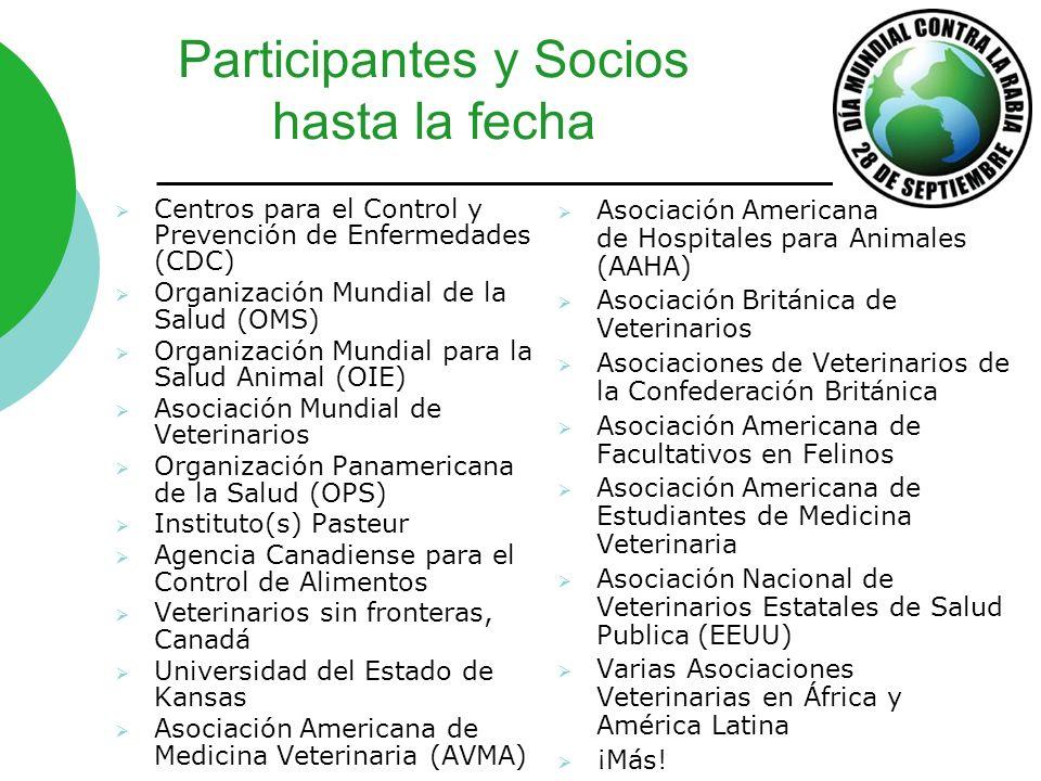 Participantes y Socios hasta la fecha Centros para el Control y Prevención de Enfermedades (CDC) Organización Mundial de la Salud (OMS) Organización M