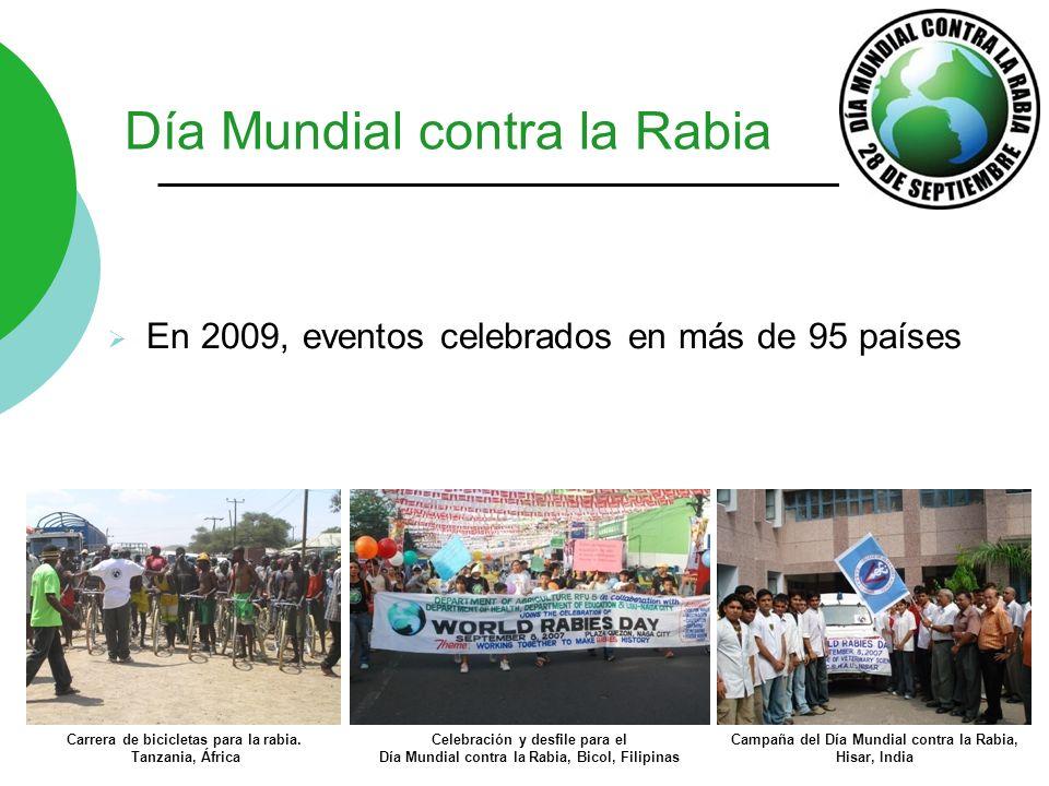 Día Mundial contra la Rabia En 2009, eventos celebrados en más de 95 países Carrera de bicicletas para la rabia. Tanzania, África Celebración y desfil
