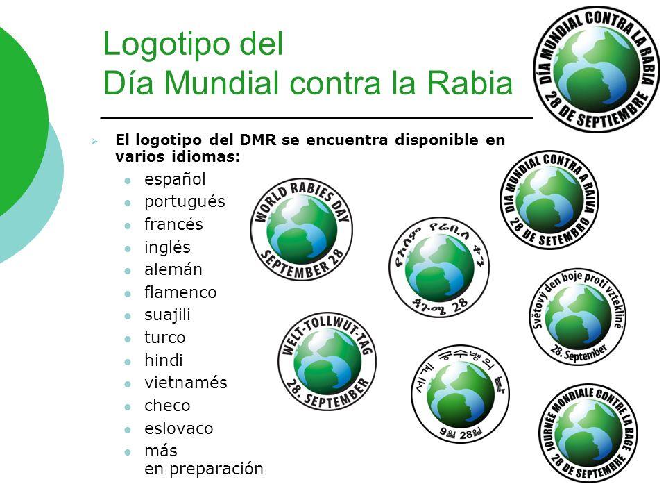 Logotipo del Día Mundial contra la Rabia El logotipo del DMR se encuentra disponible en varios idiomas: español portugués francés inglés alemán flamen