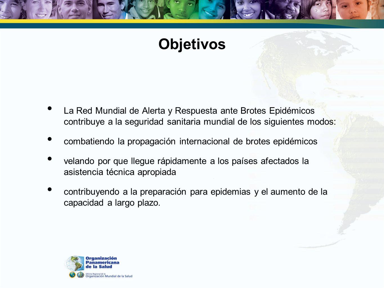 Objetivos La Red Mundial de Alerta y Respuesta ante Brotes Epidémicos contribuye a la seguridad sanitaria mundial de los siguientes modos: combatiendo