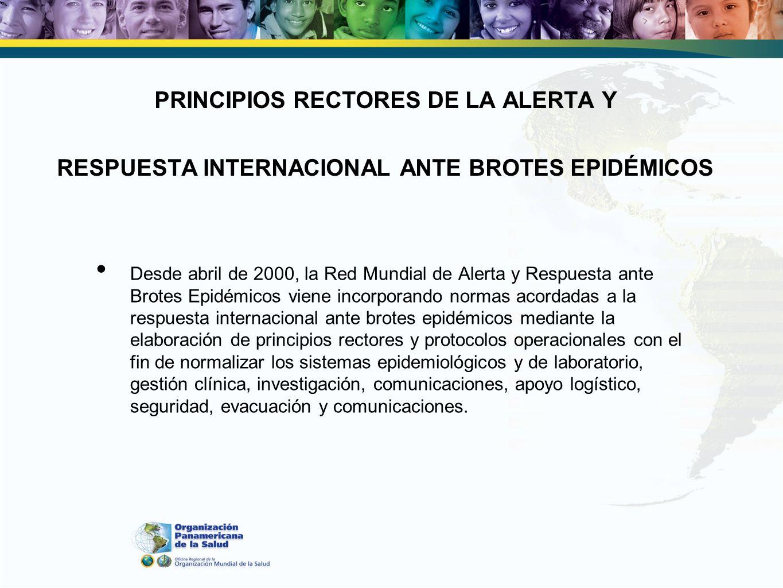 PRINCIPIOS RECTORES DE LA ALERTA Y RESPUESTA INTERNACIONAL ANTE BROTES EPIDÉMICOS Desde abril de 2000, la Red Mundial de Alerta y Respuesta ante Brote