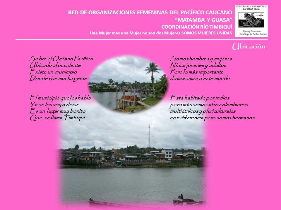 RED DE ORGANIZACIONES FEMENINAS DEL PACÍFICO CAUCANO MATAMBA Y GUASA COORDINACIÓN RÍO TIMBIQUÍ Una Mujer mas una Mujer no son dos Mujeres SOMOS MUJERES UNIDAS SAN FRANCISCO DE GUANGUI SAN MIGUEL DE INFÍ