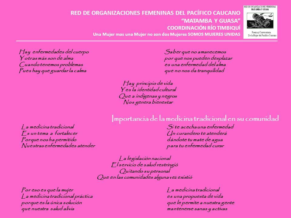 RED DE ORGANIZACIONES FEMENINAS DEL PACÍFICO CAUCANO MATAMBA Y GUASA COORDINACIÓN RÍO TIMBIQUÍ Una Mujer mas una Mujer no son dos Mujeres SOMOS MUJERES UNIDAS Cuáles son las causas de la enfermedad y las formas de sanación Algunas enfermedadesSi no te cuidas el parto Sus causas son culturalo no cuidas la menstruación Y mucha de ellas se generaes muy seguro señora Por situaciones de alláque tendrá s complicación Siempre que vas salirEl susto es una enfermedad Bébete algo calientede mucha complicación Porque el malaire te afectale da a niños y adultos Y es probable que te enfermessin ninguna excepción Para podernos curarLas plantas medicinales Debemos de recurrirlas virtudes y el saber A parteras, curanderas y hierbaterosson todos los conocimientos Si no queremos morir que una buena curandero debe tener Una medicina totalLa fe mueve montaña Es el orine o meaoes un adagio muy viejo Se bebe, se unta o en lavadonada nos puede salvar A más de uno a salvadosi no creemos en lo nuestro