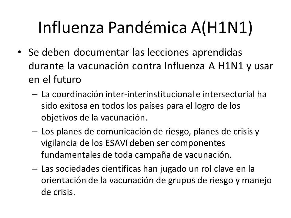 Influenza Pandémica A(H1N1) Se deben documentar las lecciones aprendidas durante la vacunación contra Influenza A H1N1 y usar en el futuro – La coordi