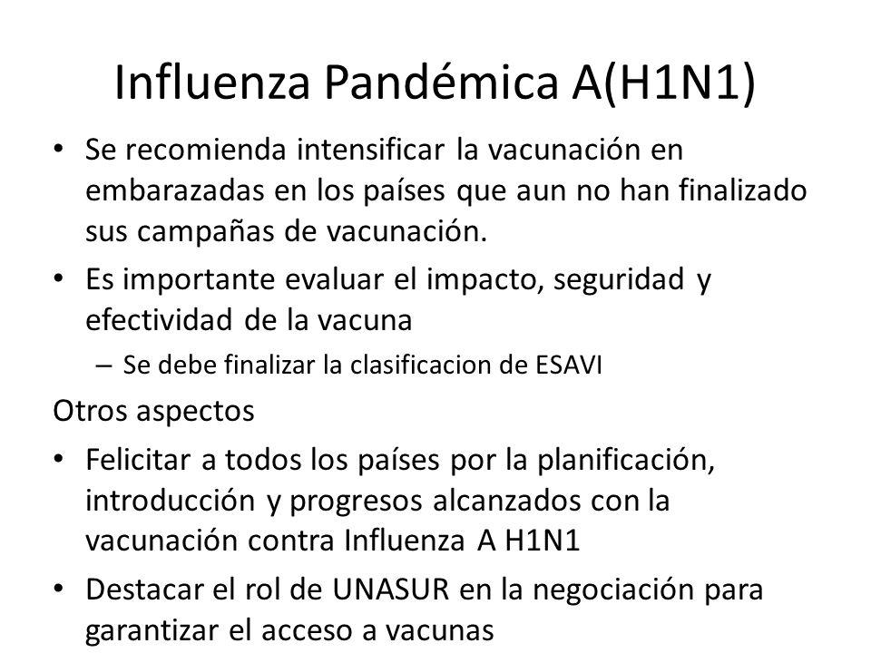 Influenza Pandémica A(H1N1) Se recomienda intensificar la vacunación en embarazadas en los países que aun no han finalizado sus campañas de vacunación